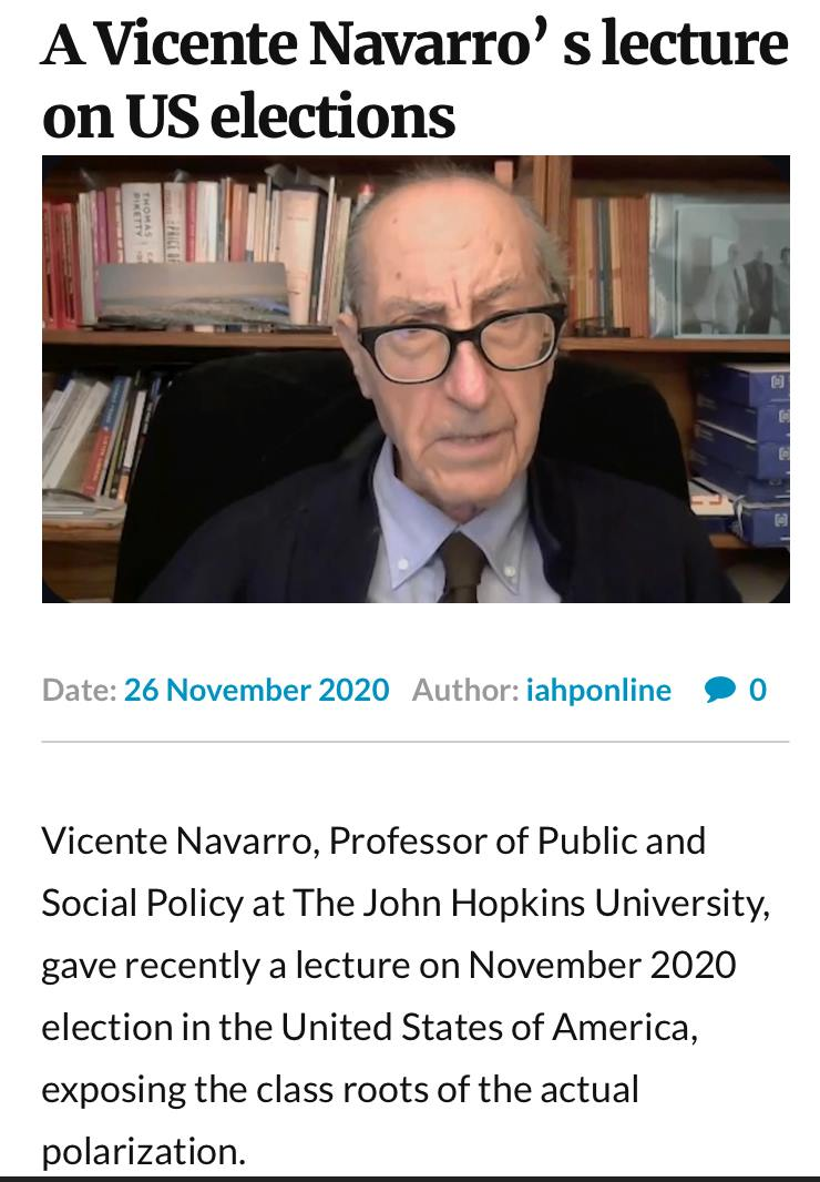 O Vicente Navarro για τις αμερικανικές εκλογές